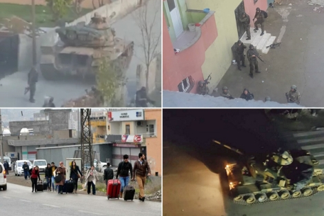turkish tanks in Kurdish streets