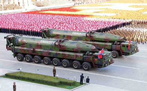 epa04974362 A picture released by the North Korean Central News Agency (KCNA) on 12 October 2015 shows large missiles, believed to be KN-08 intercontinental ballistic missiles, appearing during a large-scale military parade at Pyongyang's Kim Il-sung Square, in Pyongyang, North Korea, 10 October 2015, to mark the 70th anniversary of the founding of the ruling Workers' Party of Korea.  EPA/KCNA -- BEST QUALITY AVAILABLE -- SOUTH KOREA OUT
